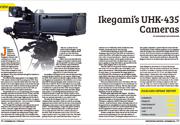 DECEMBER 2018 TFWM.COM | Ikegami's UHK-435 Cameras Review